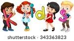 boys and girls holding... | Shutterstock .eps vector #343363823