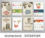 christmas vector vintage cards... | Shutterstock .eps vector #343369184