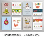 christmas vector vintage cards...   Shutterstock .eps vector #343369193