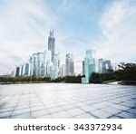 empty square and modern office... | Shutterstock . vector #343372934