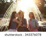 interaction between girls. it... | Shutterstock . vector #343376078