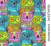 vector seamless pattern with... | Shutterstock .eps vector #343376930