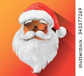 santa claus hat  eyeglasses and ... | Shutterstock .eps vector #343377269