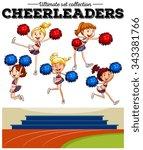 cheerleaders cheering in the... | Shutterstock .eps vector #343381766