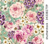 watercolor floral pattern with... | Shutterstock . vector #343382759