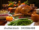 roasted turkey garnished with... | Shutterstock . vector #343386488