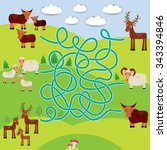 farm animals   sheep  deer  cow ... | Shutterstock . vector #343394846