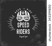vintage motorbike race   hand... | Shutterstock .eps vector #343399850