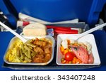 Lunch In Airplane On A Blue...