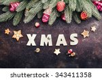 christmas background with... | Shutterstock . vector #343411358