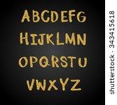 gold glitter font vector... | Shutterstock .eps vector #343415618