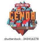 genoa in italy is beautiful... | Shutterstock .eps vector #343416278