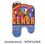 genoa in italy is beautiful... | Shutterstock .eps vector #343416368