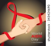 world aids day card 1 december... | Shutterstock .eps vector #343424690