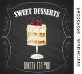 vector realistic biscuit cake... | Shutterstock .eps vector #343430264