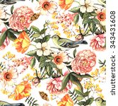 watercolor vintage pattern with ... | Shutterstock . vector #343431608