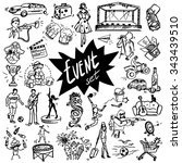 vector set of hand drawn icons... | Shutterstock .eps vector #343439510