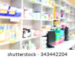 blur background drug shelves in ... | Shutterstock . vector #343442204