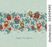 cartoon seamless border with... | Shutterstock .eps vector #343459490