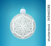 silver ball with snowflake  on... | Shutterstock . vector #343460288