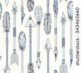 tribal indian seamless set of... | Shutterstock .eps vector #343463660