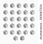 cubic alphabet set. vector... | Shutterstock .eps vector #343467314