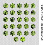 cubic alphabet set. vector... | Shutterstock .eps vector #343467356