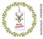 holly berry wreath with tag | Shutterstock .eps vector #343468118