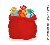 Red Sack Santa Claus With Gift...