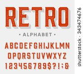 retro vector font. letters ... | Shutterstock .eps vector #343474676