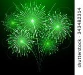 Five Green Fireworks  Vector