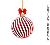 red satin bauble with white... | Shutterstock .eps vector #343493594