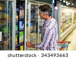 side view of man opening... | Shutterstock . vector #343493663