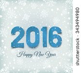 happy new year 2016. blue ... | Shutterstock . vector #343494980
