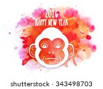 Cute Monkey Face On Colorful...