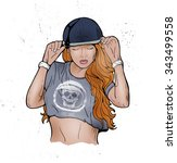 rap music girl. pretty young... | Shutterstock .eps vector #343499558