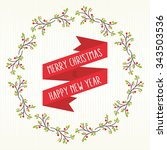 berry and branches wreath... | Shutterstock .eps vector #343503536