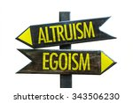 Small photo of Altruism - Egoism signpost isolated on white background