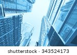 blue toned photo of skyscrapers ... | Shutterstock . vector #343524173