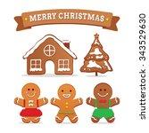 gingerbread cookies. | Shutterstock .eps vector #343529630