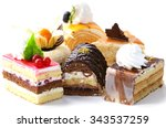 assorted different mini cakes... | Shutterstock . vector #343537259
