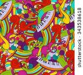 music seamless pattern... | Shutterstock .eps vector #343538618