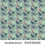 vector seamless pattern leaves... | Shutterstock .eps vector #343540040
