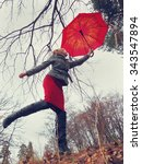 girl with a red umbrella... | Shutterstock . vector #343547894