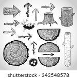 sketches of wood cuts  logs ... | Shutterstock .eps vector #343548578
