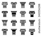 Vector Column Icon Set On Whit...