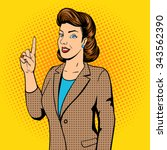 woman point finger gesture pop...   Shutterstock .eps vector #343562390