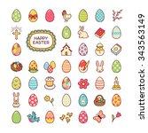 set of easter symbols. cute... | Shutterstock .eps vector #343563149