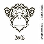 illustration of monkey   symbol ... | Shutterstock .eps vector #343566008