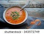 red lentil soup   Shutterstock . vector #343572749